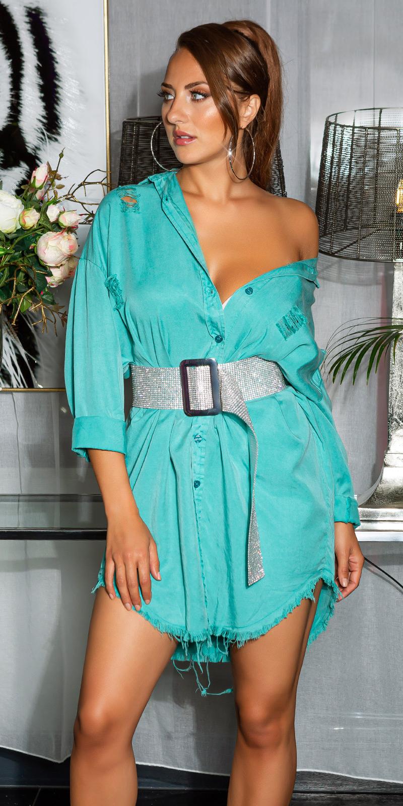 Šaty s dlouhým rukávem 0000HE5139-S - Mint