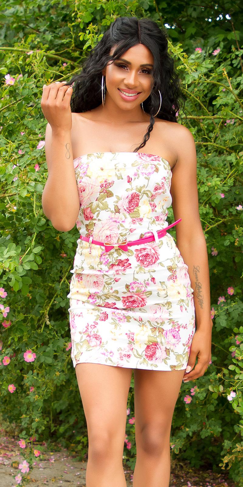 Krátké šaty 0000ISF-LMR039-N - white