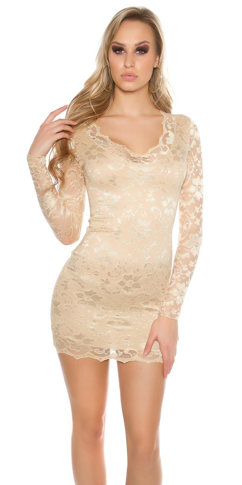 Šaty s dlouhým rukávem 00002100 - SAND GOLD