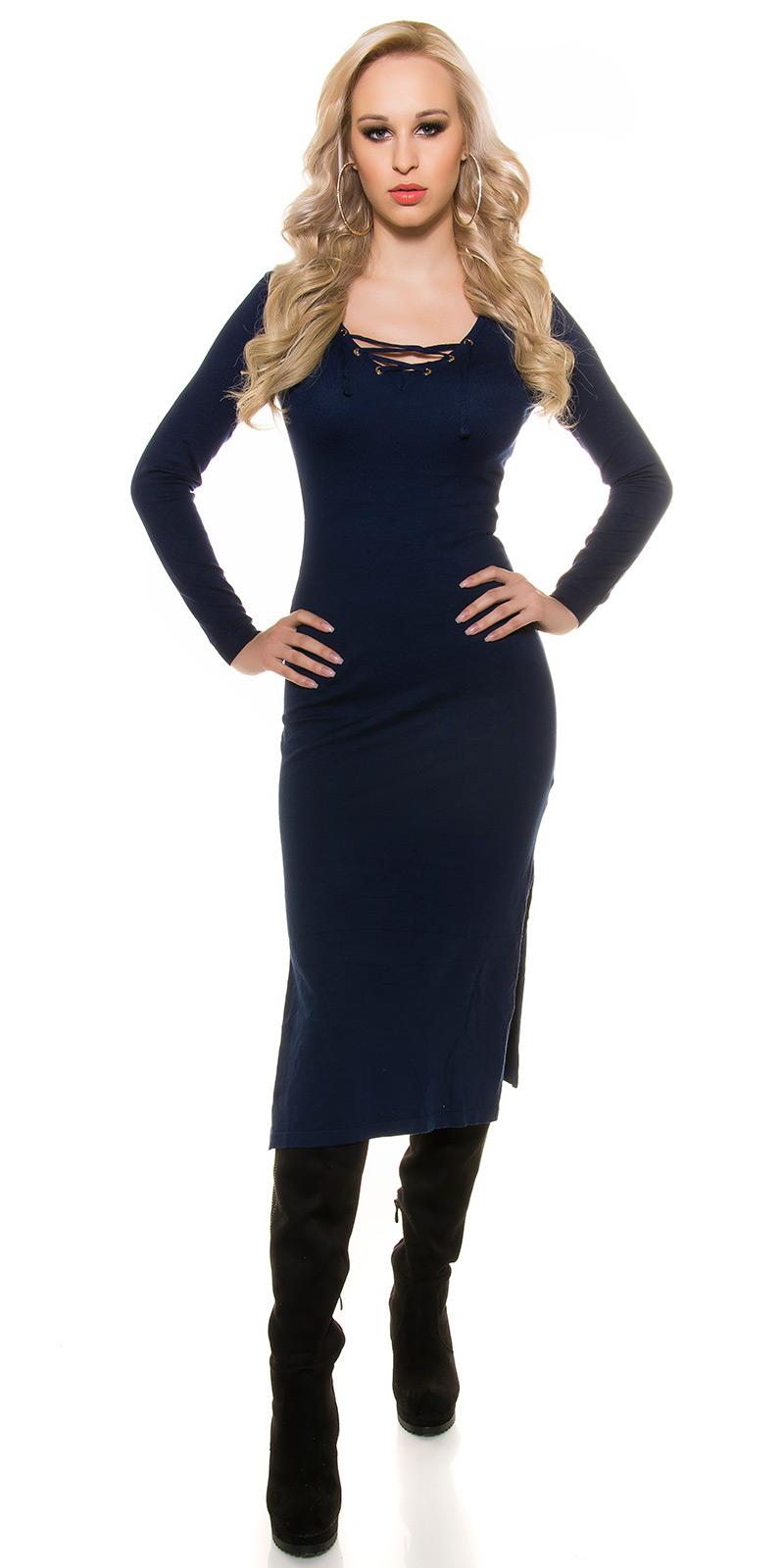 Šaty s dlouhým rukávem 0000ISF8722 - navy