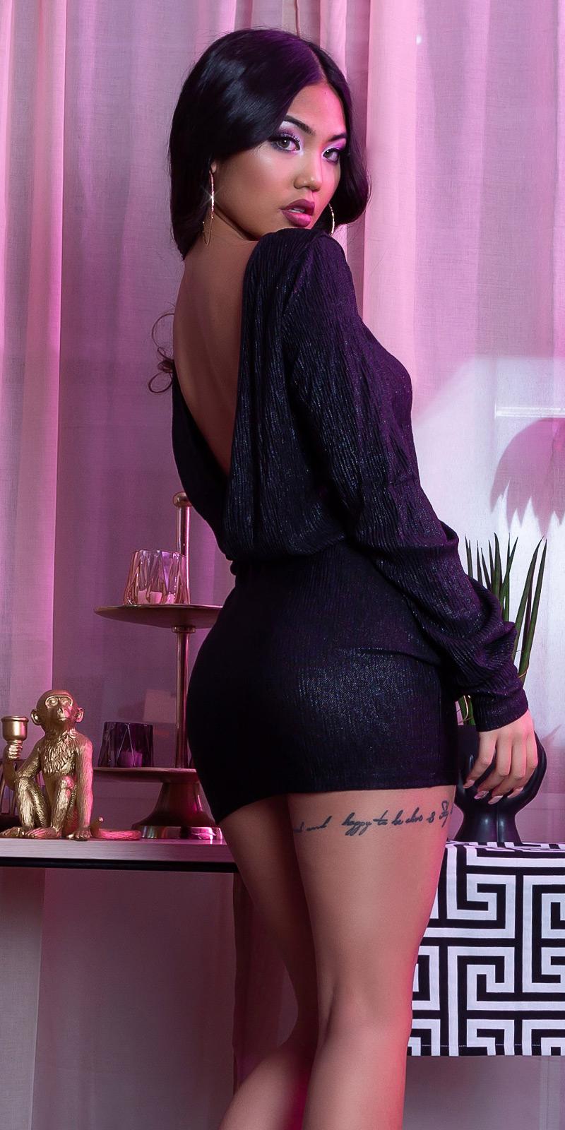Šaty s dlouhým rukávem 0000CK9001-N - Black