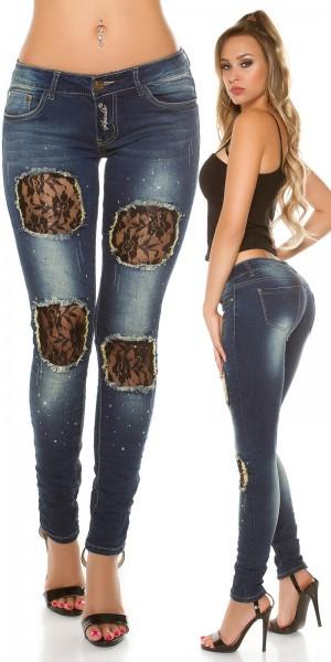Sexy KouCla Skinny mit Spitzen-Einsätzen