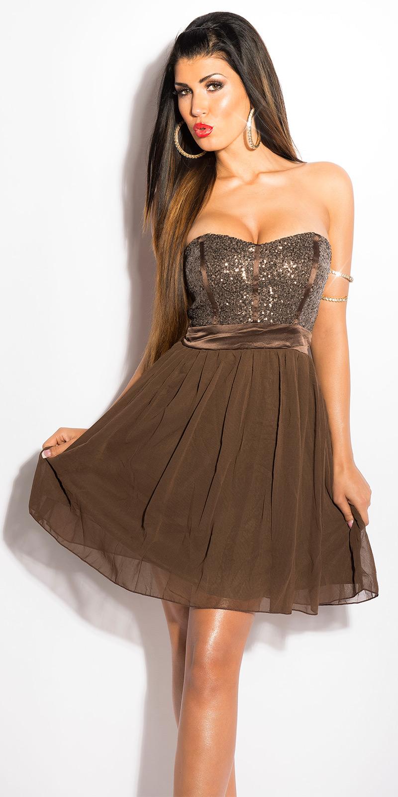 Koktejlové šaty 0000IN50143 - brown