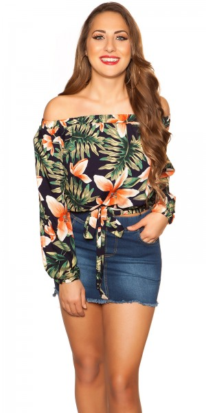 Sexy Off Shoulder Shirt zum Binden