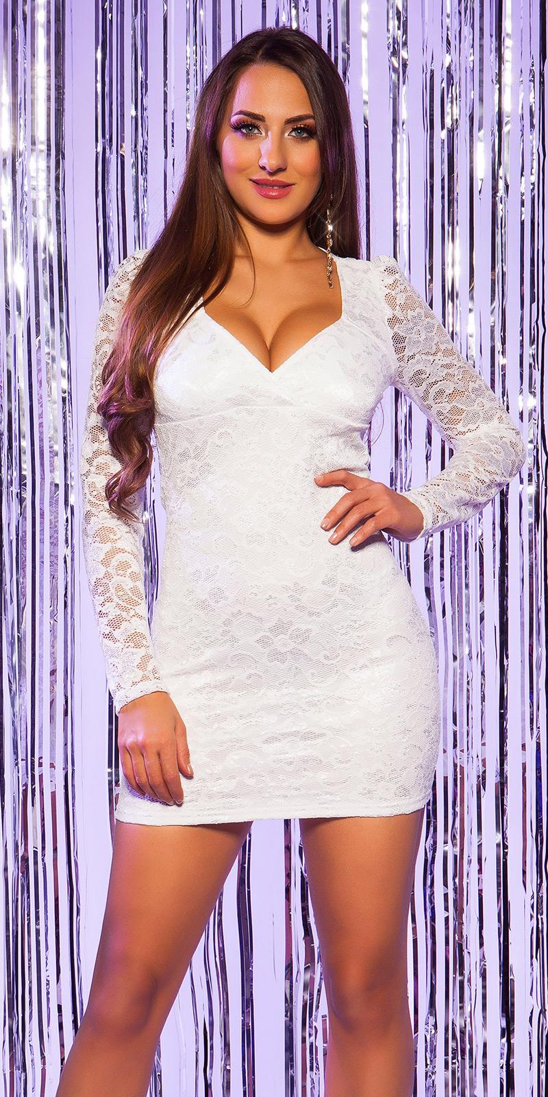 Šaty s dlouhým rukávem 0000C12047 - cream