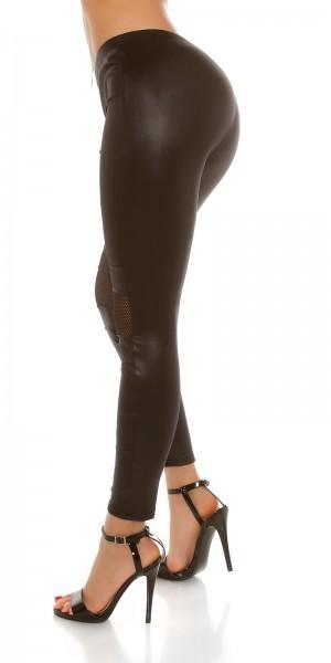 Sexy Wetlook Leggings mit Mesheinsatz