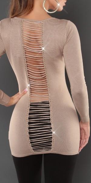 Sexy KouCla-Longpulli Rückenfrei mit Strass