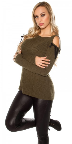Trendy Cold Shoulder Grobstrick Mohair Pullover