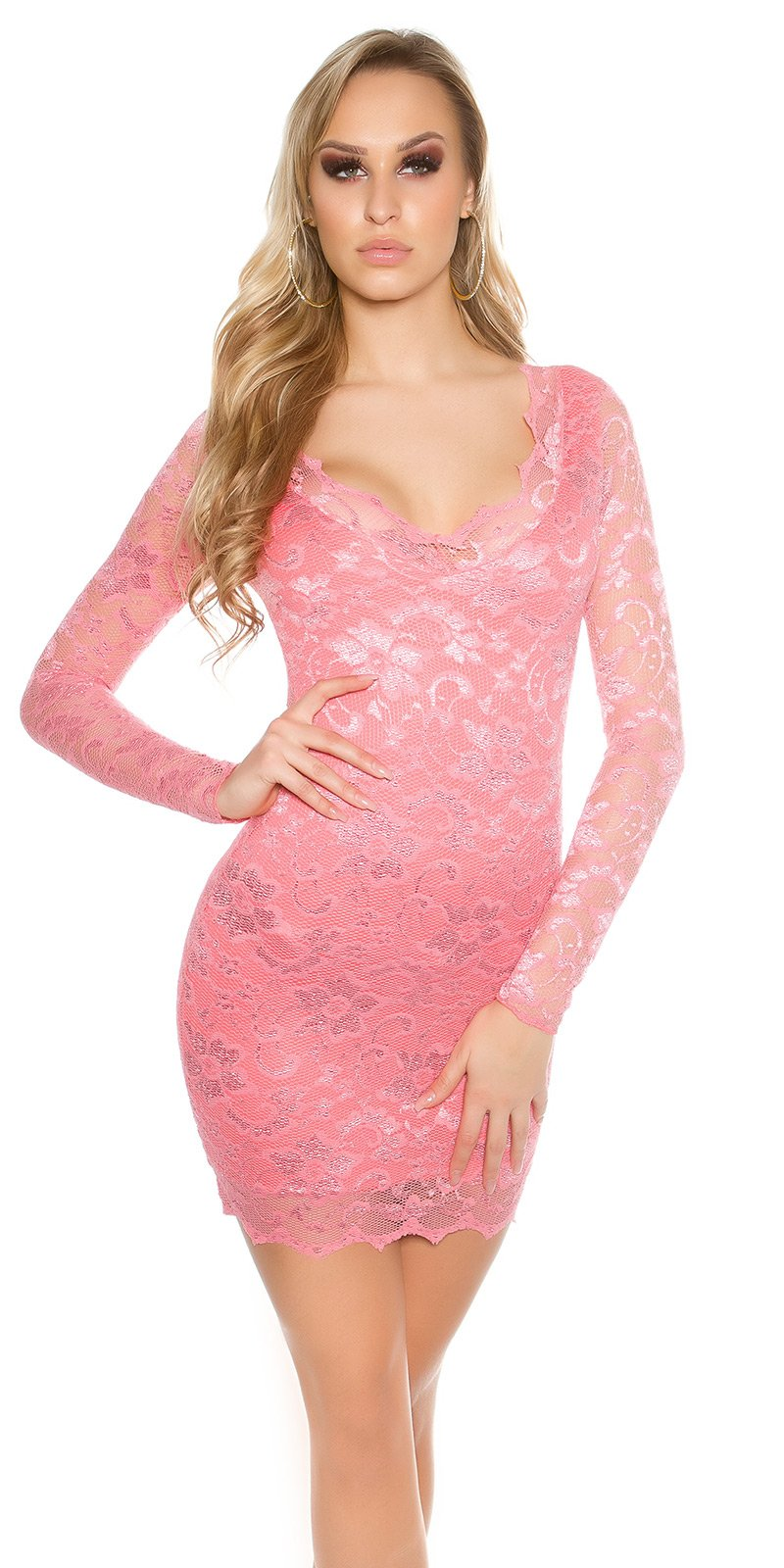 Šaty s dlouhým rukávem 00002100 - Coral
