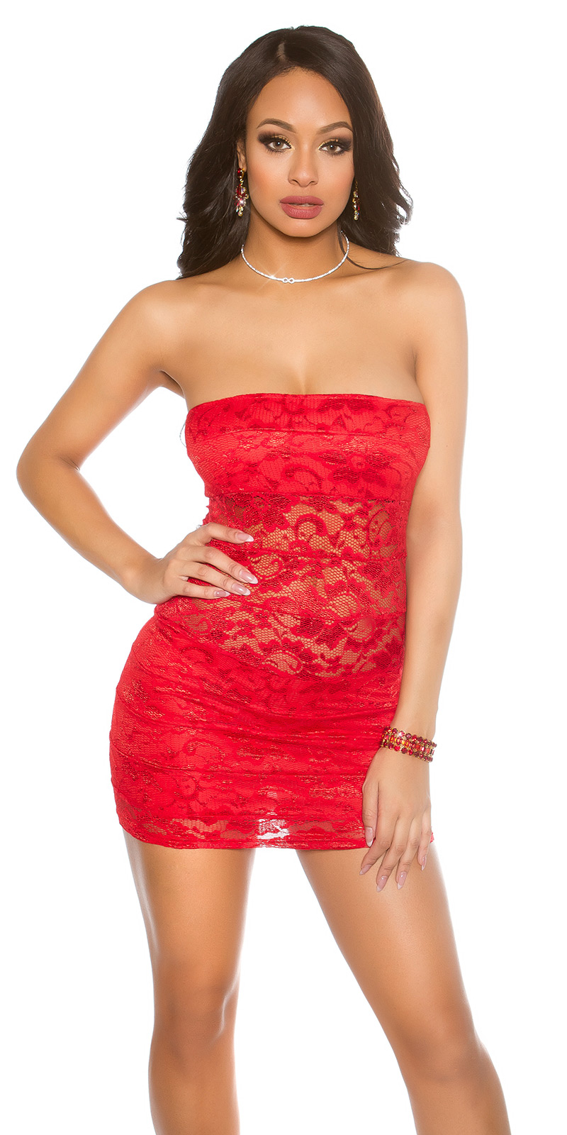 Krátké šaty 0000ISFIN50068-N - red