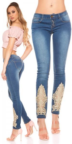Sexy KouCla Skinny Push UP  Jeans mit Spitze