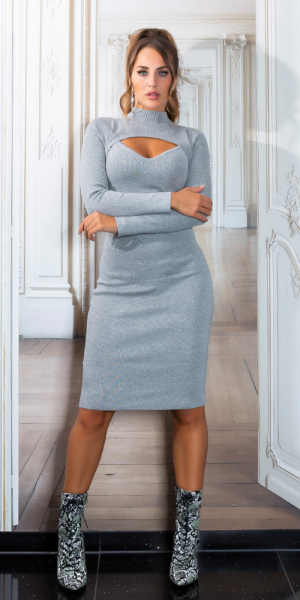 Sexy Midi Knit Dress with Cut-out