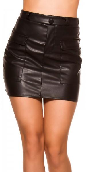 Sexy Lederlook Minirock mit Taschen