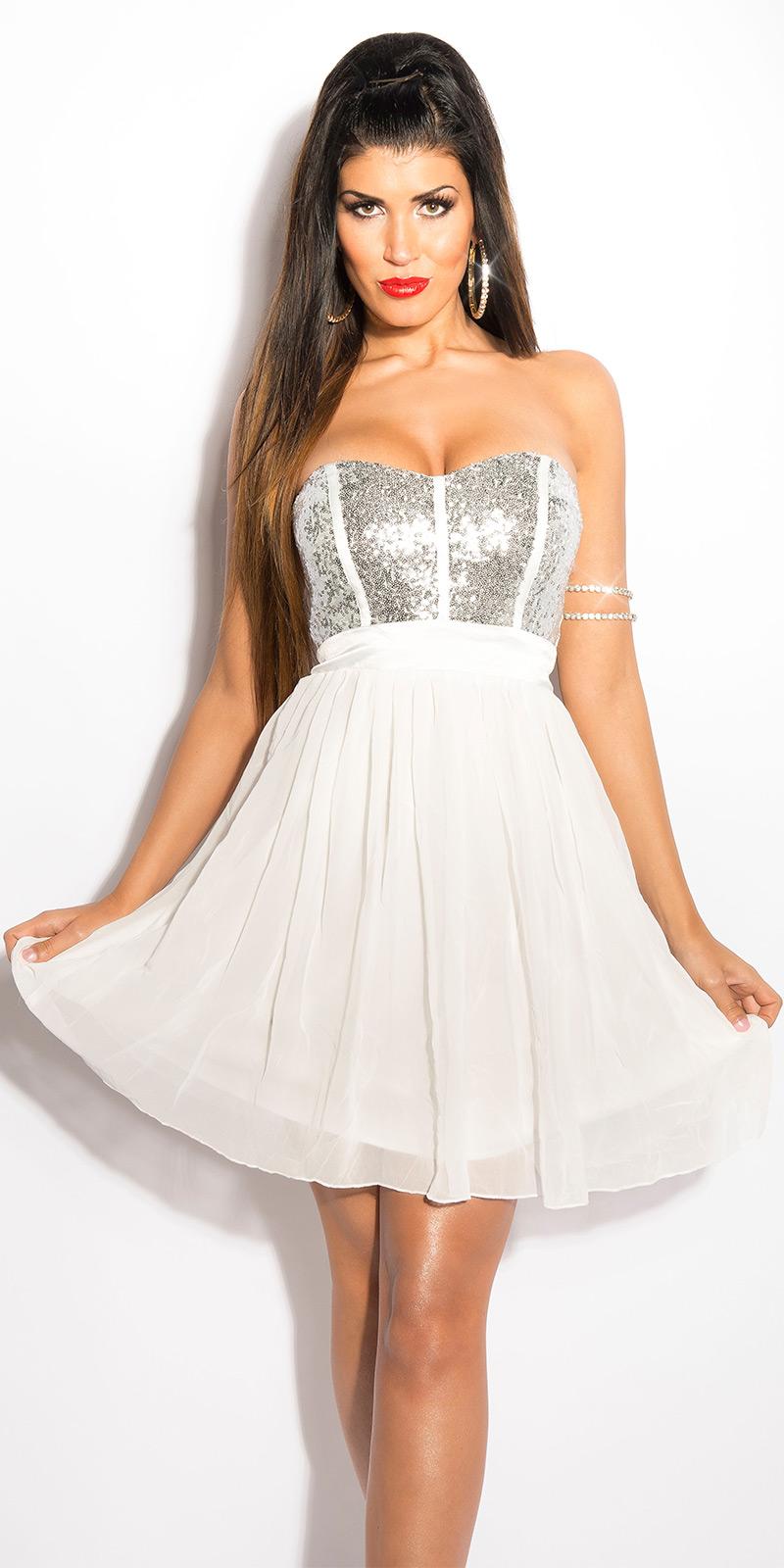 Koktejlové šaty 0000IN50143 - white
