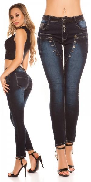 Sexy KouCla dark denim Jeans mit Knöpfen