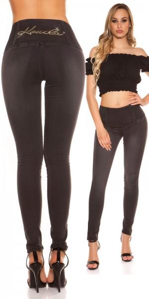 Sexy KouCla HighWaist Jeans m. XL-Gummibund+Strass