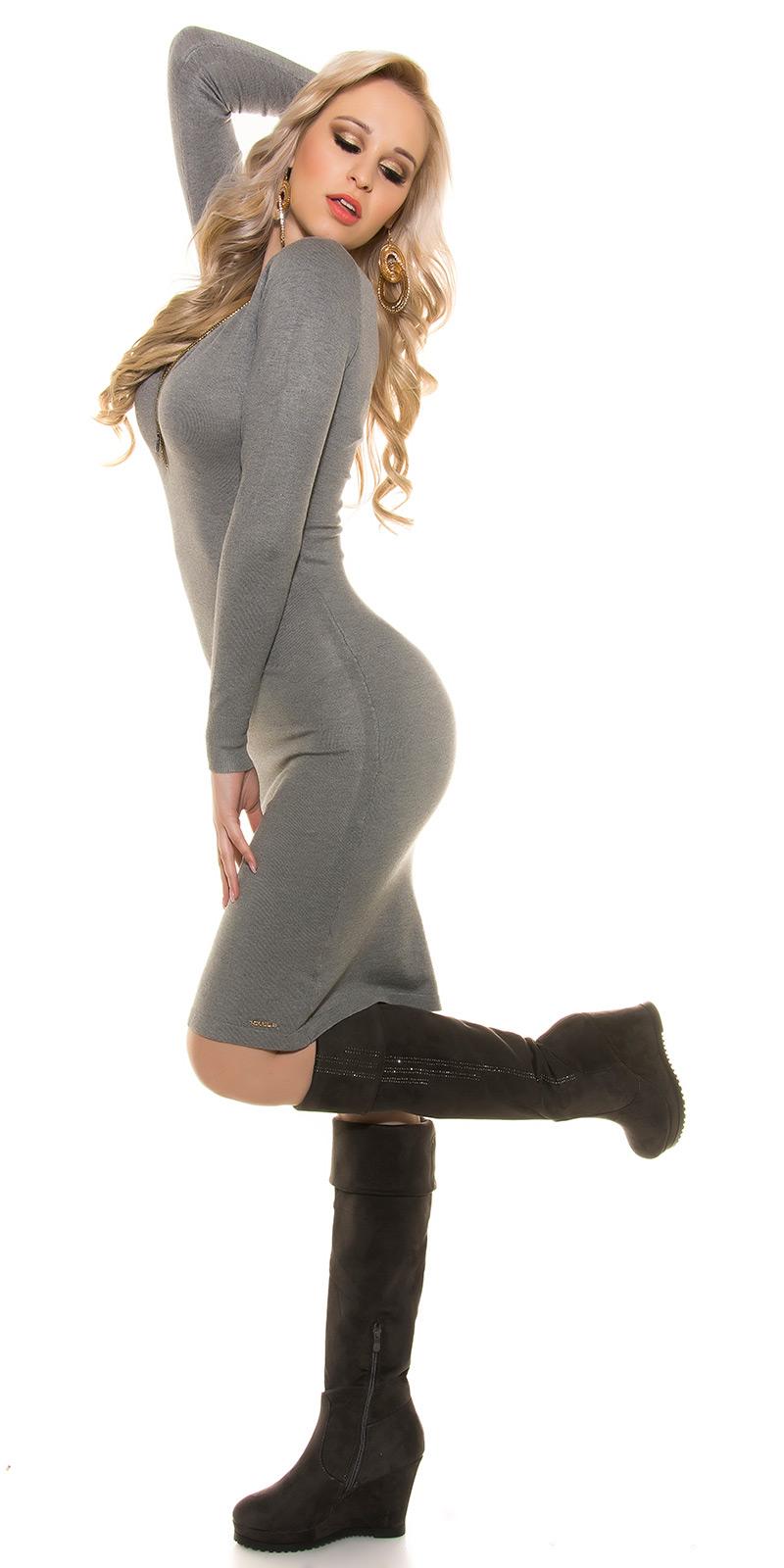 Šaty s dlouhým rukávem 0000ISF8725 - grey