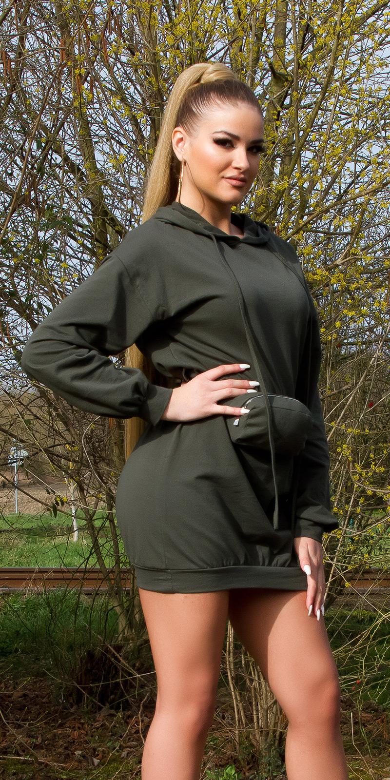 Šaty s dlouhým rukávem 0000BL15066 - Khaki