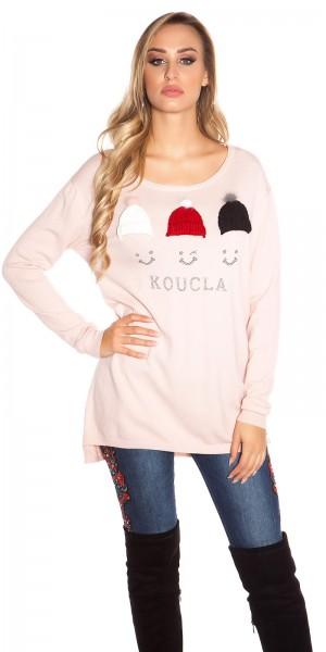 Trendy KouCla Pullover mit Glitzernieten