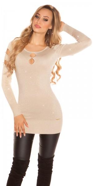 Sexy KouCla Lurex-Pullover mit cut outs u. Perlen