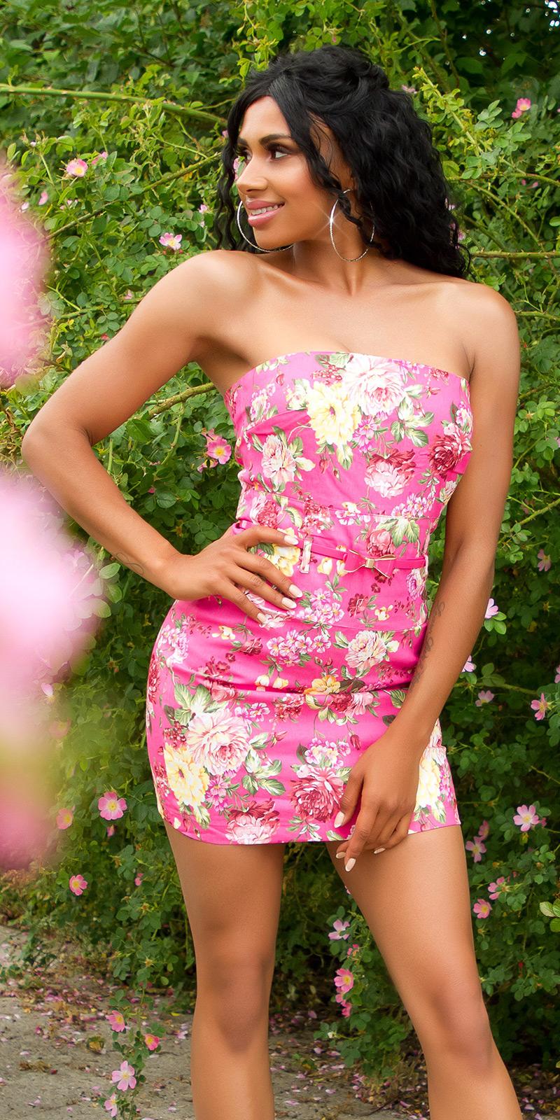 Krátké šaty 0000ISF-LMR039-N - Pink
