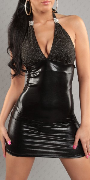 Sexy Neck-Minikleid, rückenfrei im Latex-Look