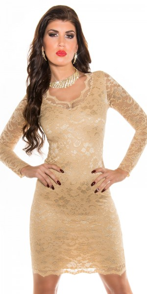 Sexy KouCla Party Kleid mit V-Ausschnitt+Spitze