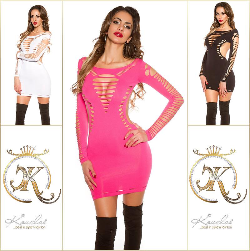 Šaty s dlouhým rukávem 0000B9462 - Pink