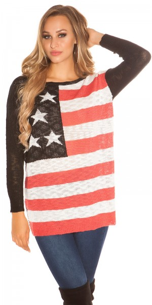 Cooles Oversize Grobstrick Pullover mit US-Print