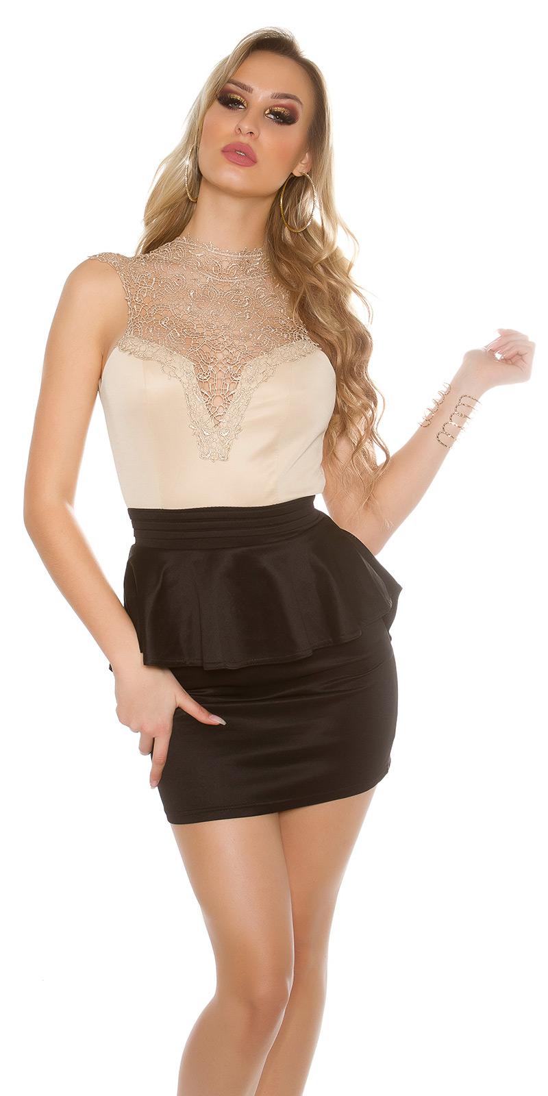 Koktejlové šaty 0000IN50176 - beigeblack