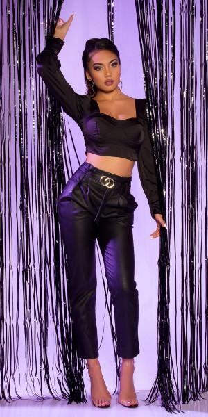 Sexy Lederlook Hose mit Gürtel