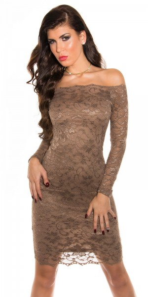 Sexy KouCla Carmenausschnitt Midi-Dress mit Spitze