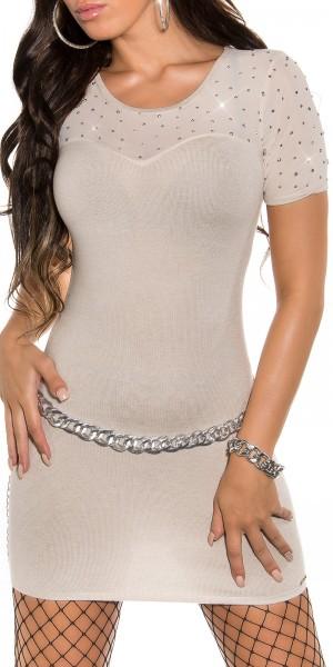 Sexy KouCla Feinstrick-Minikleid mit Nieten