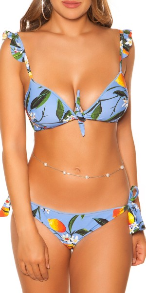 Sexy Bikini mit Rüschen Blumen Print