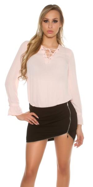 Sexy Langarm-Bluse mit geschnürtem Dekolletée