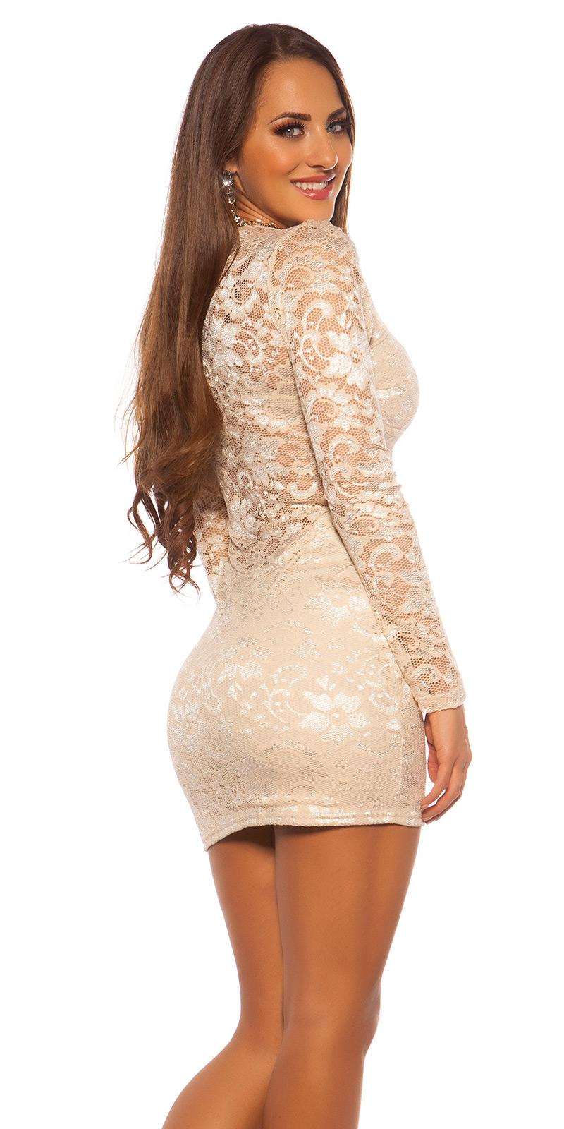 Šaty s dlouhým rukávem 0000C12047 - Beige