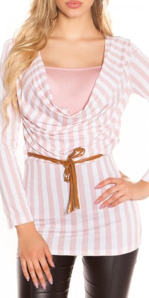 Sexy Longshirt mit Wasserfallausschnitt und Gürtel