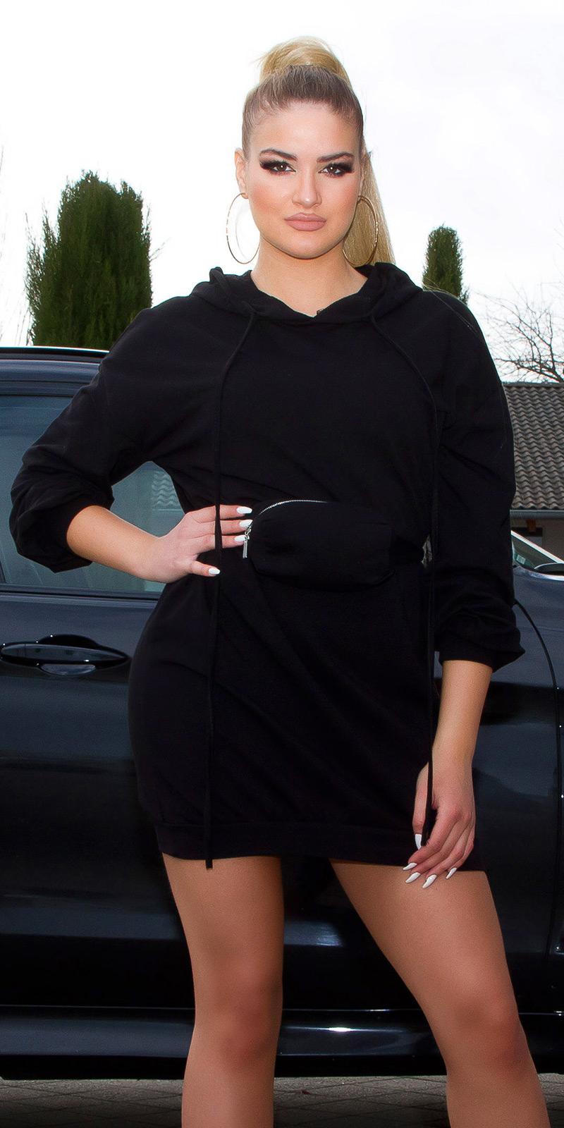 Šaty s dlouhým rukávem 0000BL15066 - Black