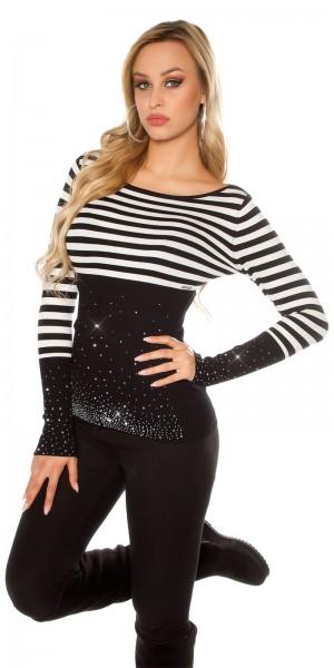 Sexy KouCla Pullover mit Strasssteinchen