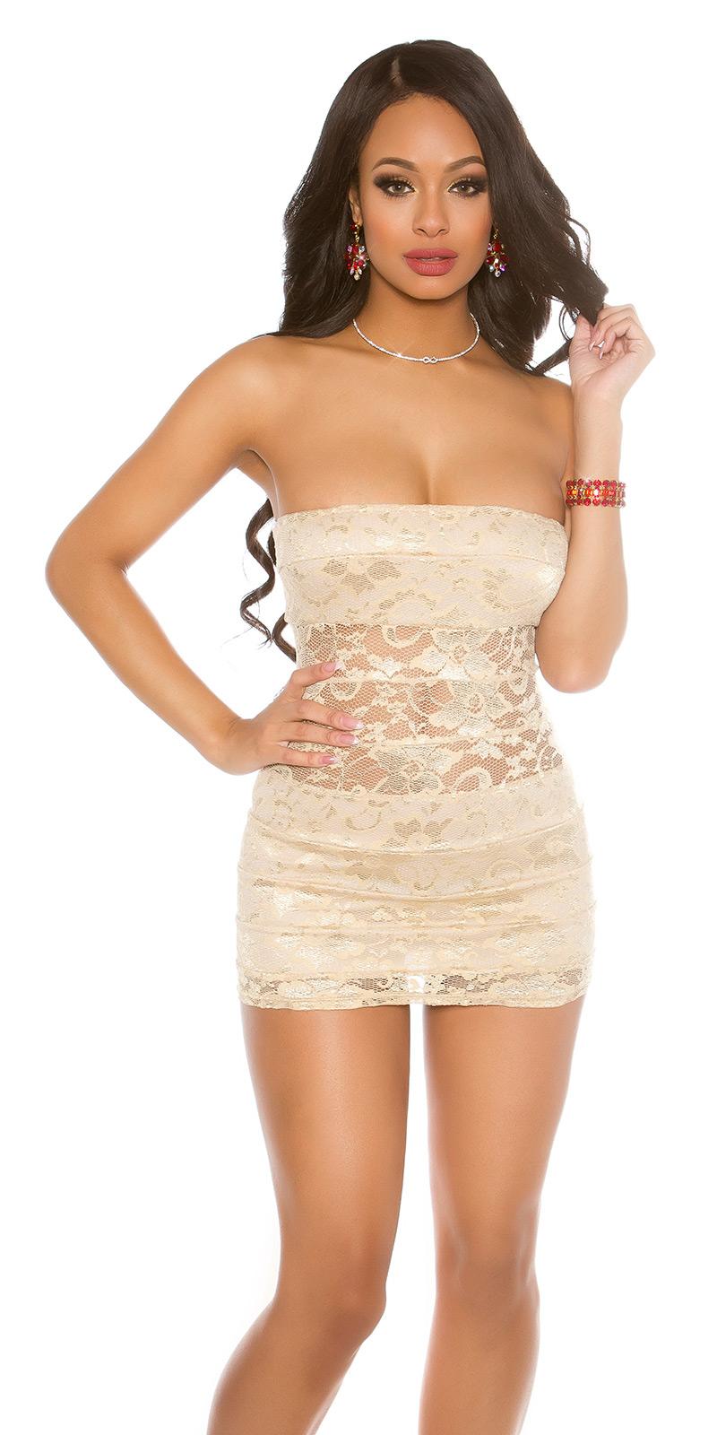 Krátké šaty 0000ISFIN50068-N - Beige