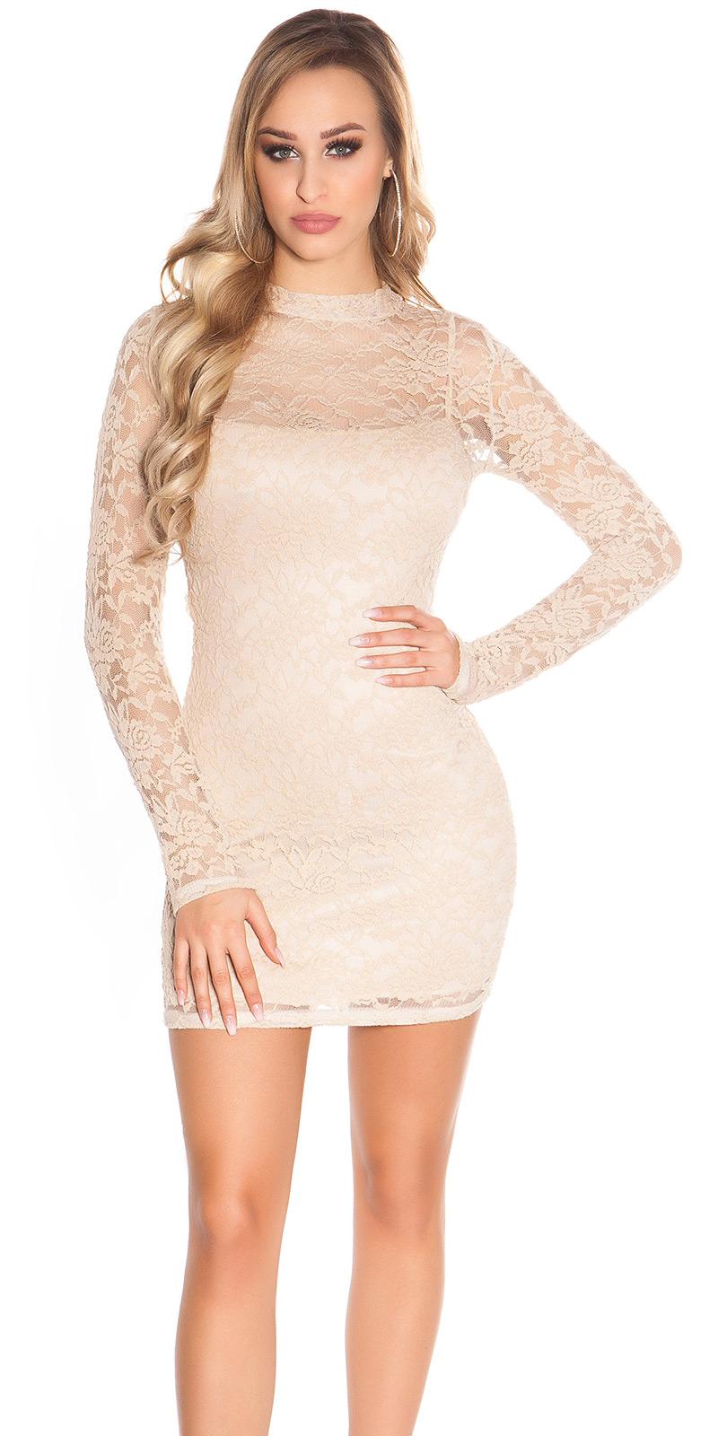 Šaty s dlouhým rukávem 0000IN50161 - Beige