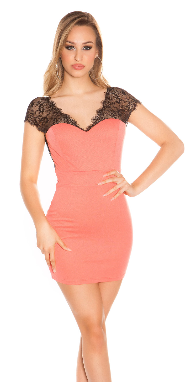 Krátké šaty 0000K18533 - Coral