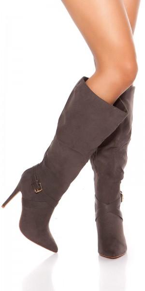 Sexy High Heel Stiefel Wildleder-Look