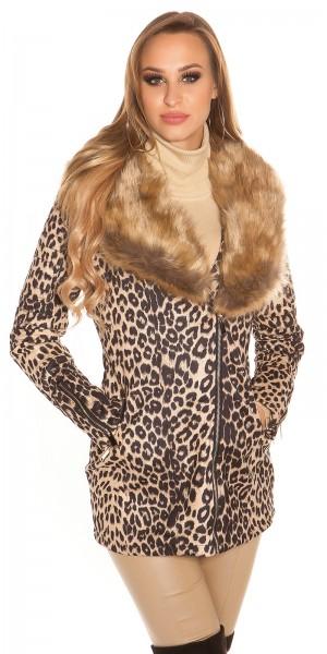 Trendy Mantel Animal Print und Fake Pelz