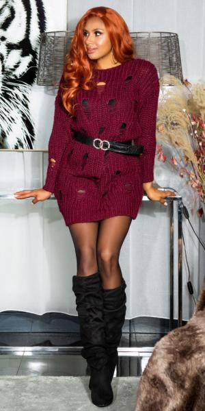 Trendy KouCla Chunky knit long jumper Used Look