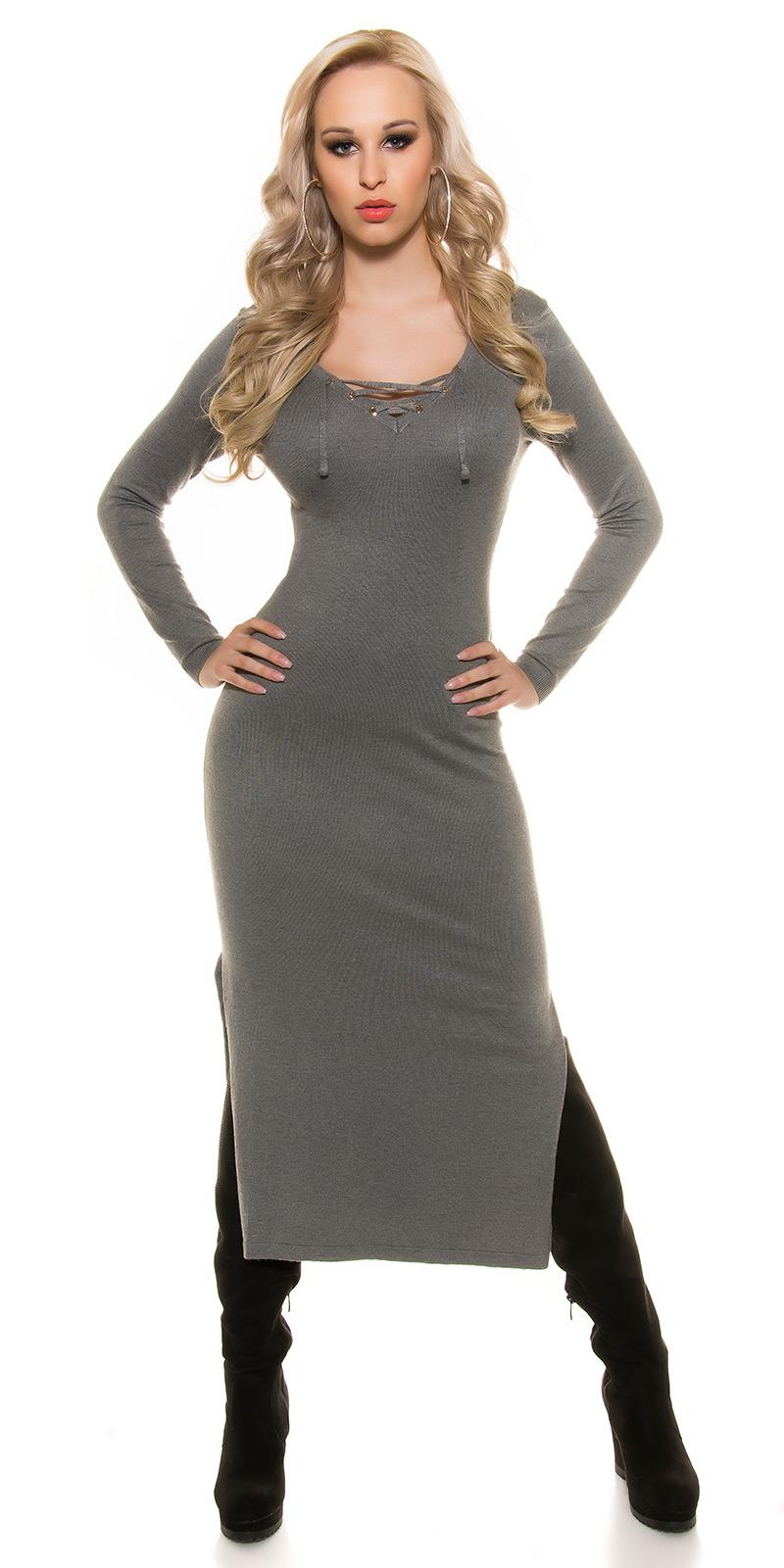 Šaty s dlouhým rukávem 0000ISF8722 - grey
