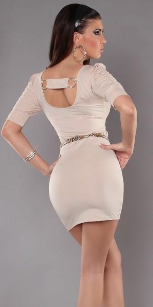 Sexy Minikleid mit Rückenschnalle und Gürtel