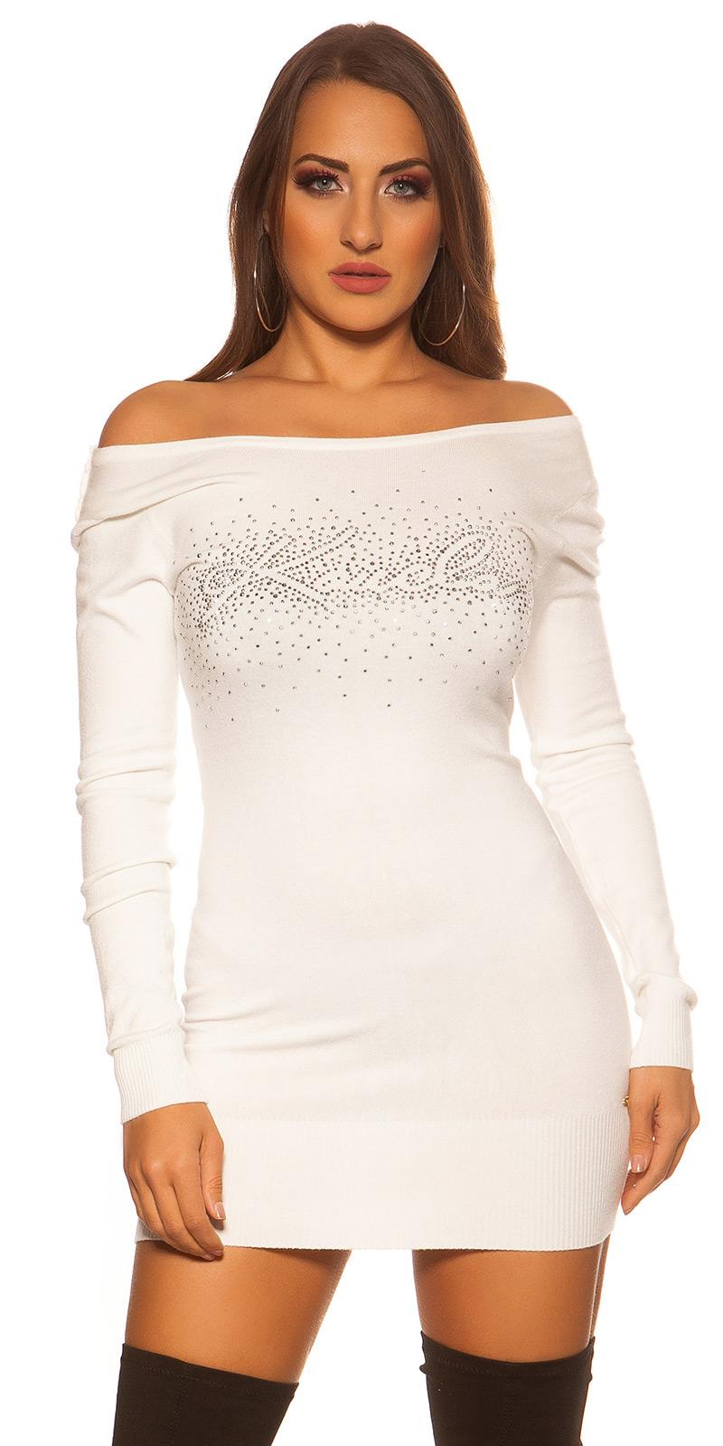 Šaty s dlouhým rukávem 0000ISF8266-N - white