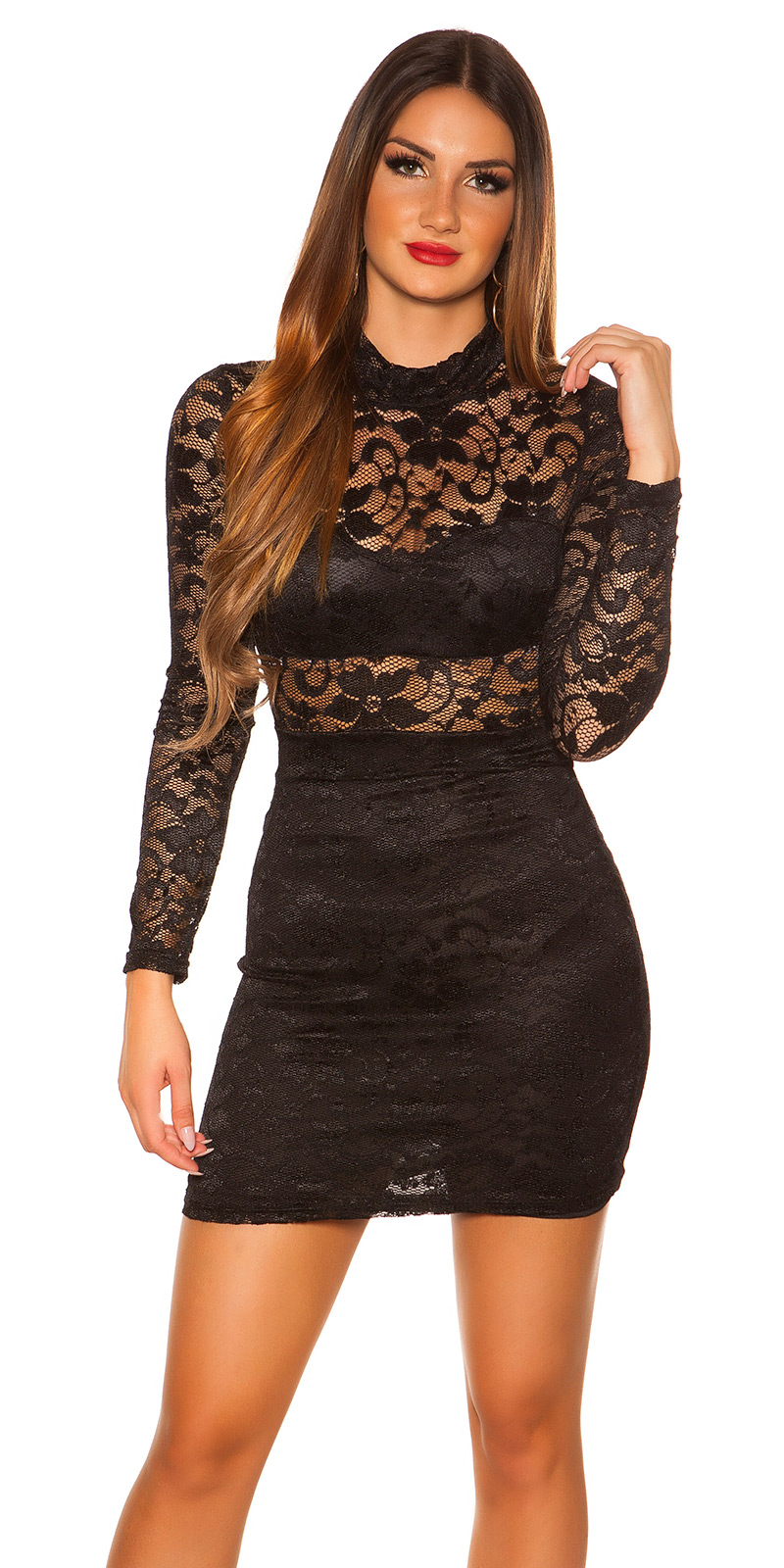 Šaty s dlouhým rukávem 0000IN50242 - Black