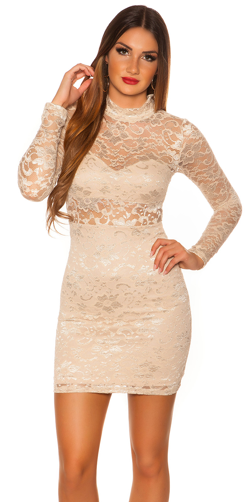 Šaty s dlouhým rukávem 0000IN50242 - Beige